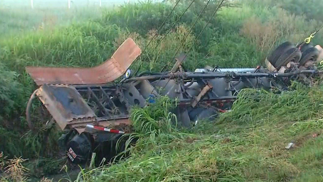 Yukon PD Confirm Fatality In Overturned Semi Wreck