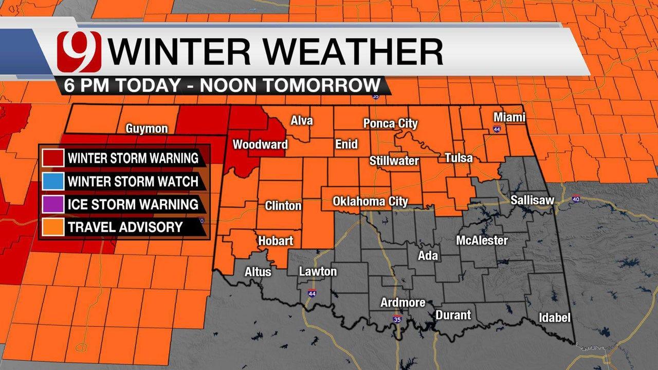 Travel Advisory Set For Sunday Evening As Snow Moves Into Oklahoma