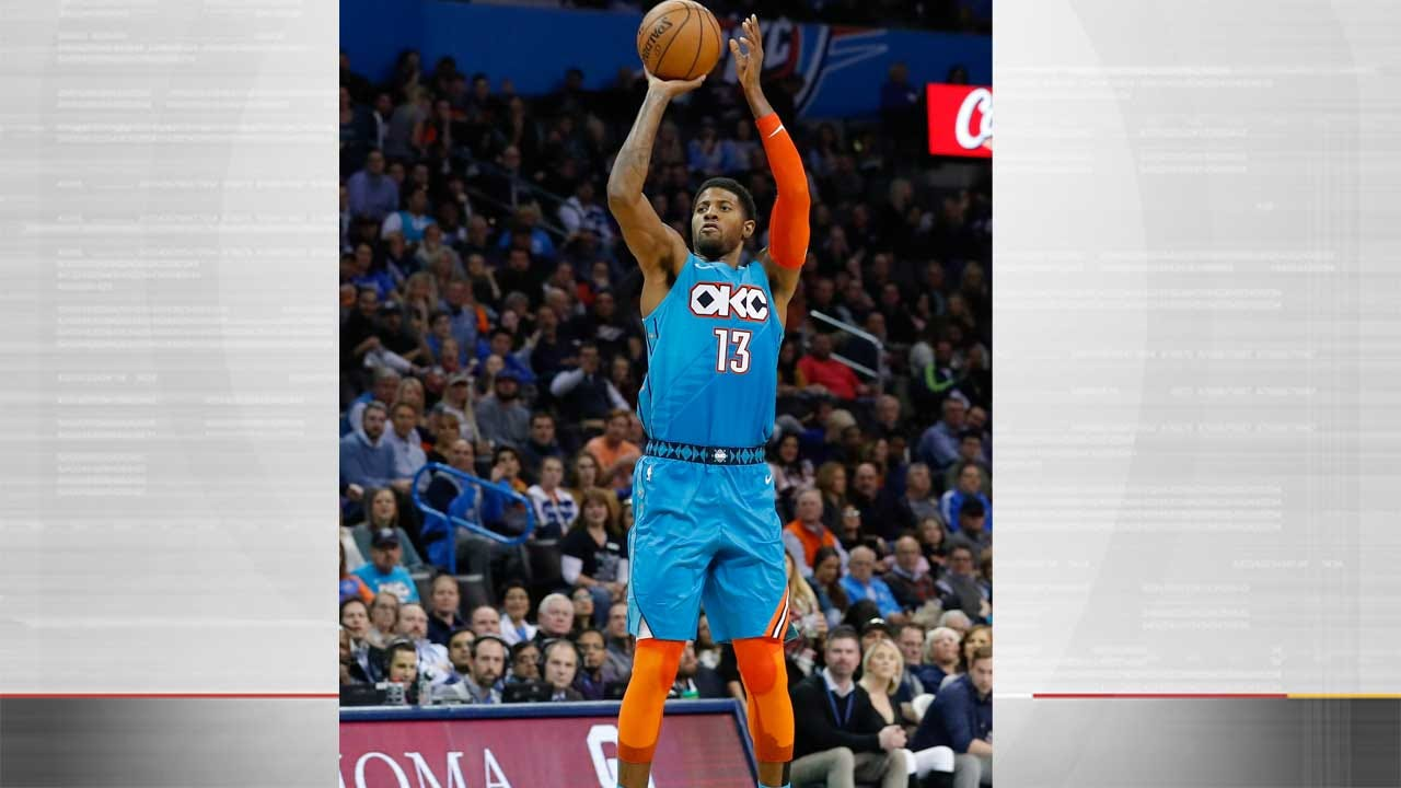George Scores 35, Leads Thunder Past Knicks 128-103