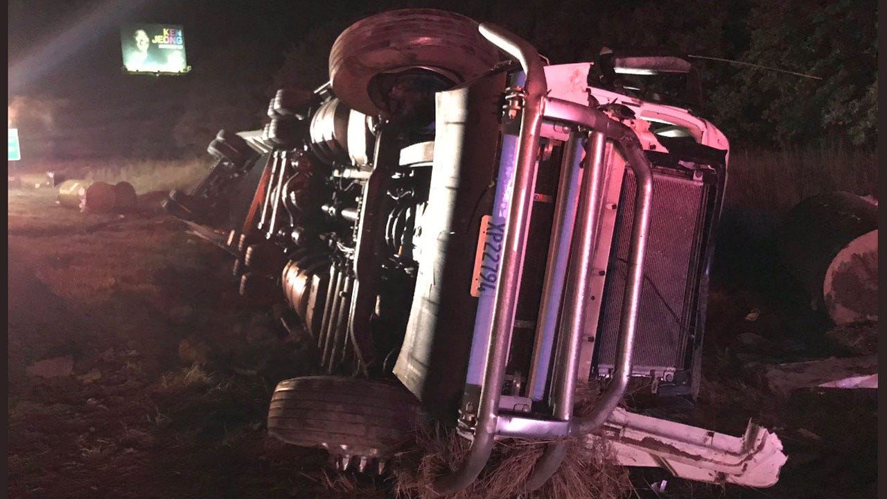 Crews Respond To Semi Rollover Accident Near McLoud