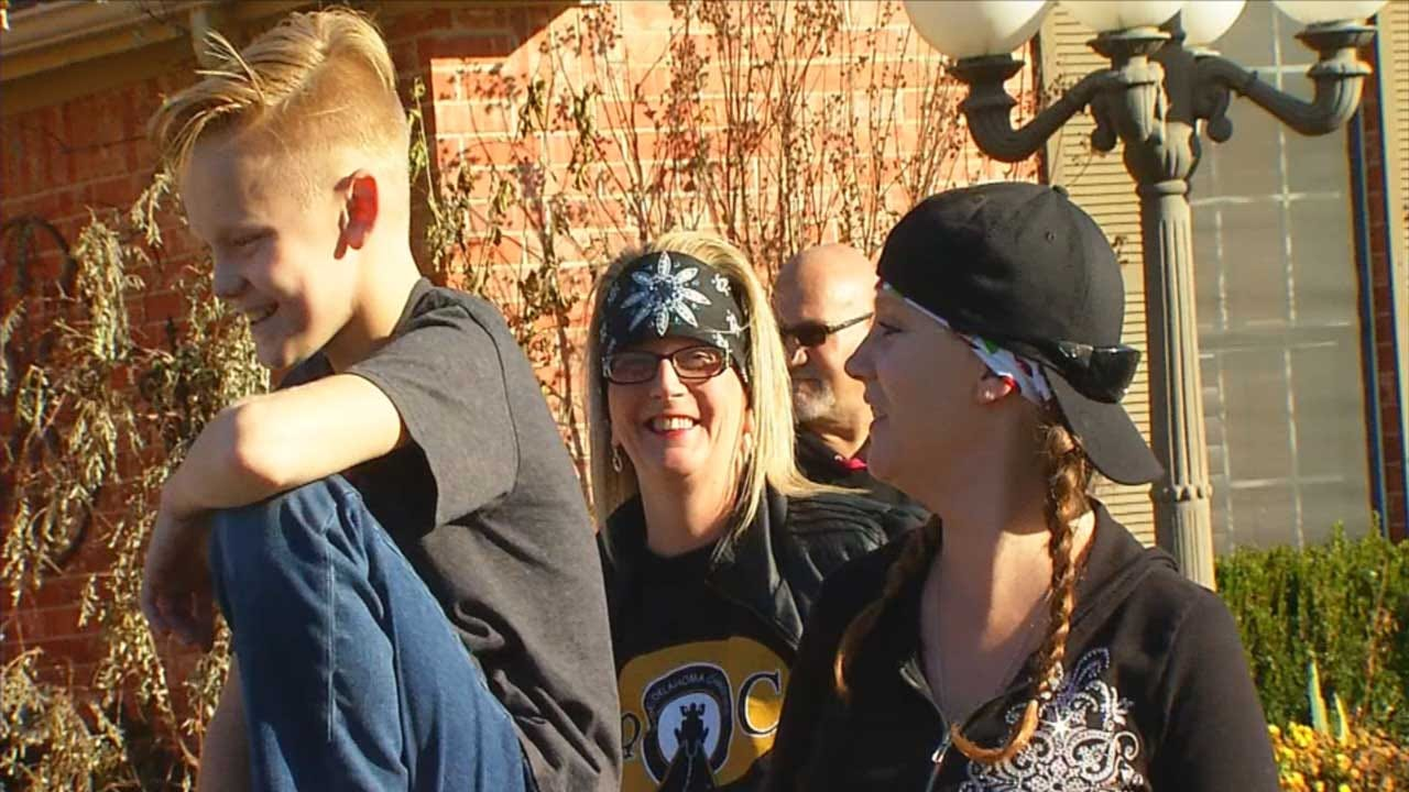 Local Bikers Show Support For Bullied 11-Year-Old In Mustang