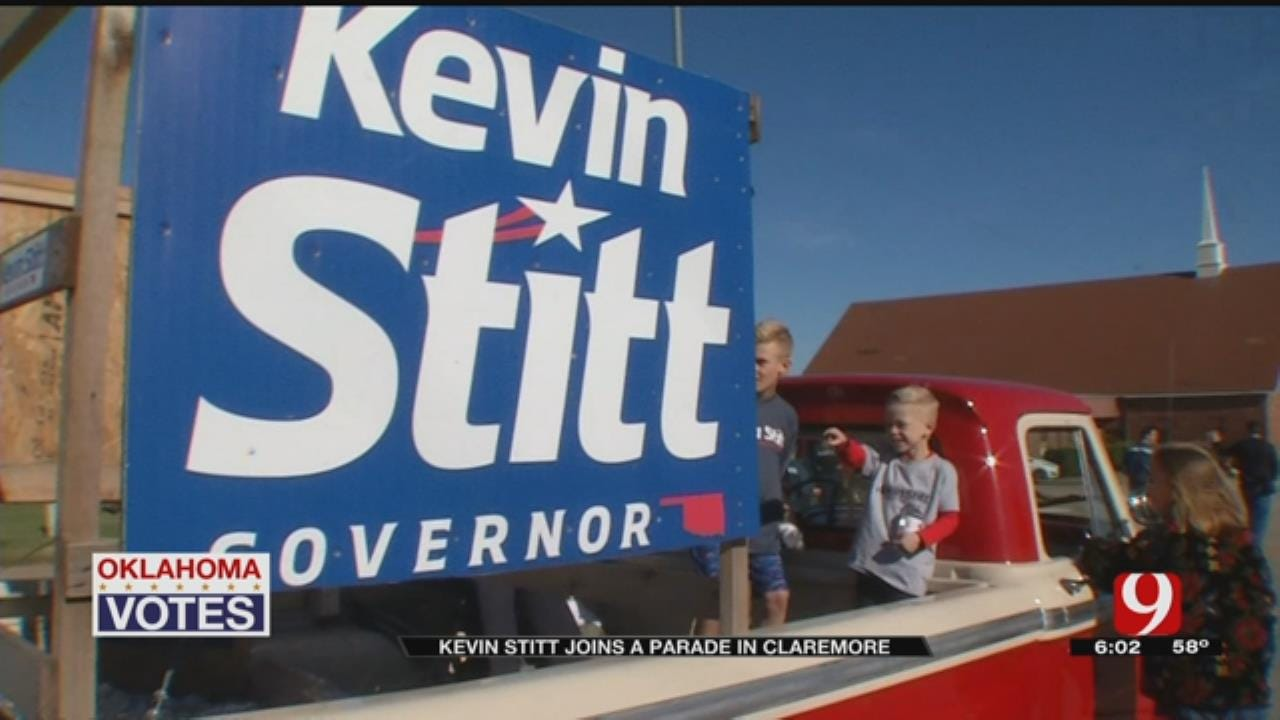 Kevin Stitt Campaigns During Will Rogers Parade In Claremore