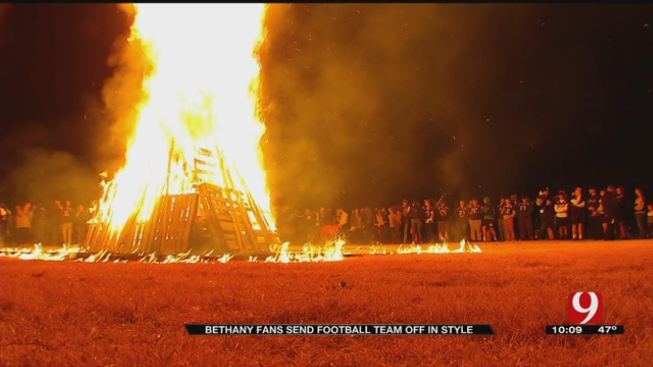 Bethany Fans Send Football Team Off In Style With Bonfire