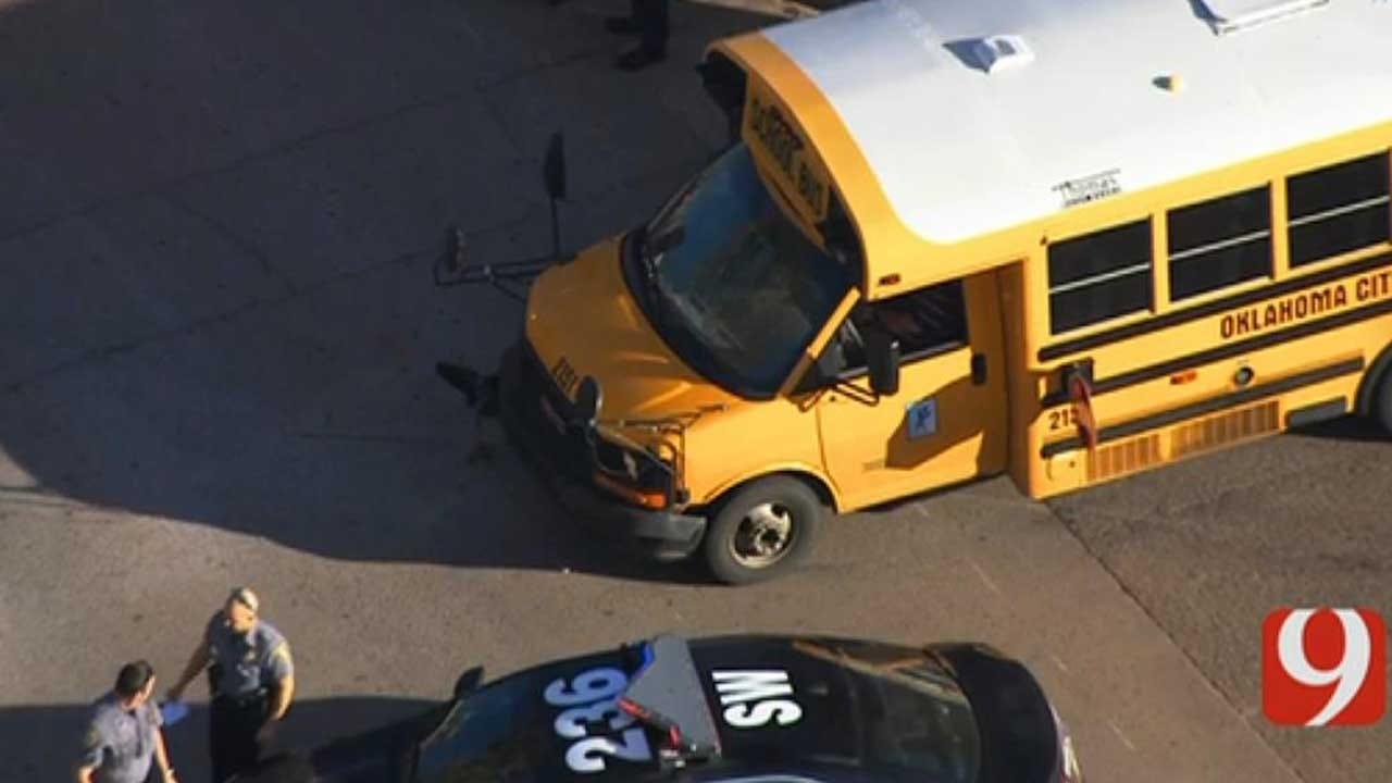 OKC Police Investigating After Crash Involving School Bus In SW OKC