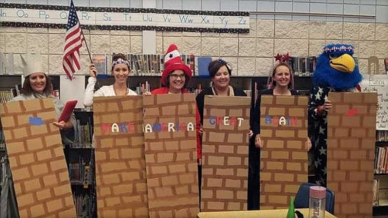Teachers Dress Up Like Border Wall, Mexican Stereotypes For Halloween