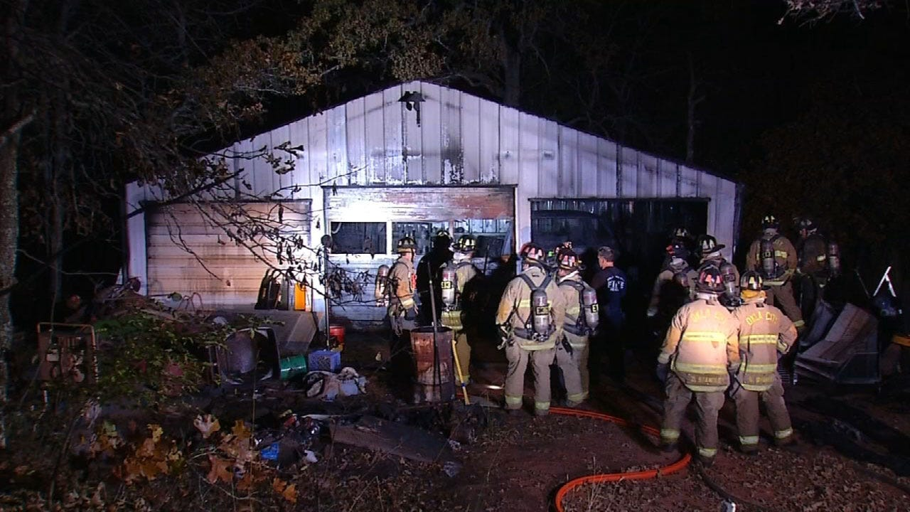 Fire Crews Battle Barn Fire In Newalla