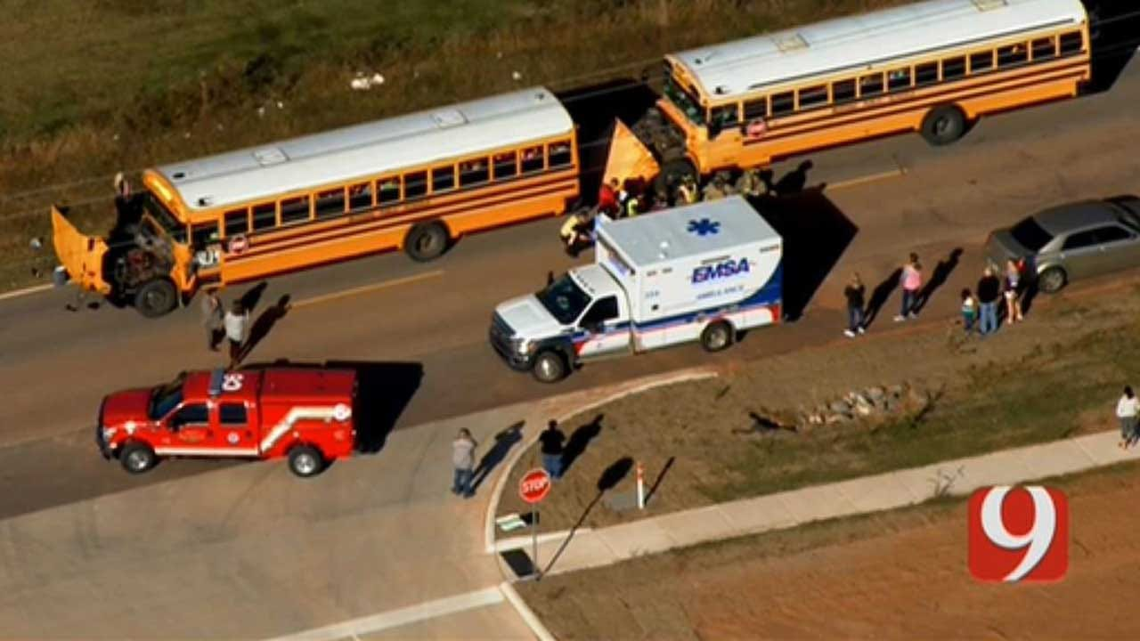 Minor Injuries Reported After 2 School Buses Crash In Mustang