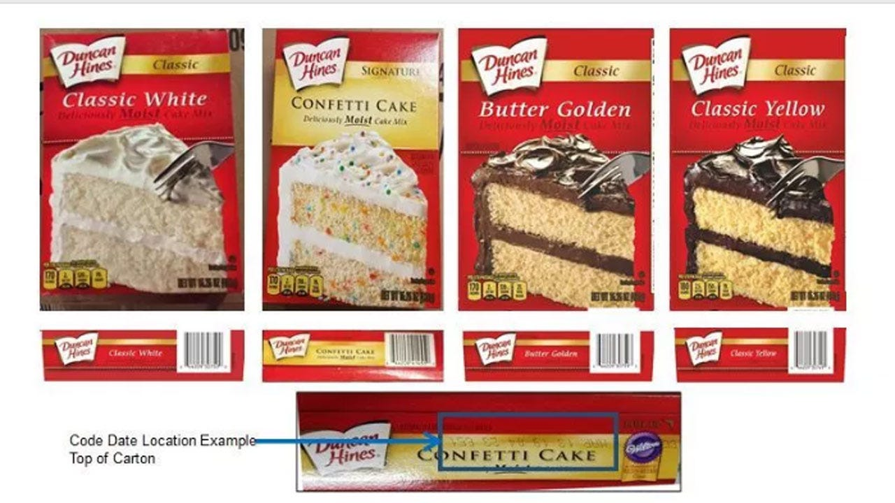 Duncan Hines Recalls Some Cake Mixes Due Salmonella Concern