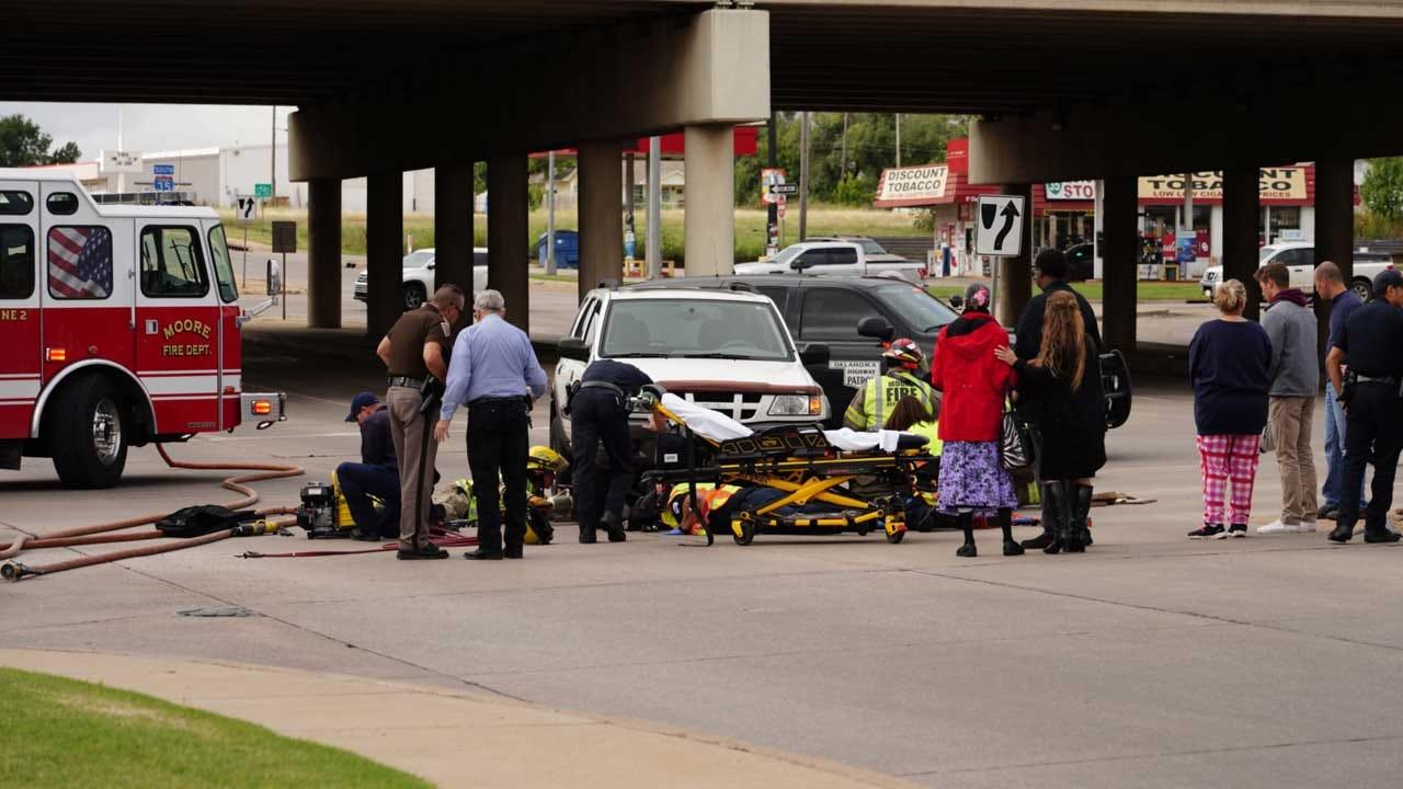 Emergency Crews Respond To Crash Involving Motorcycle In Moore