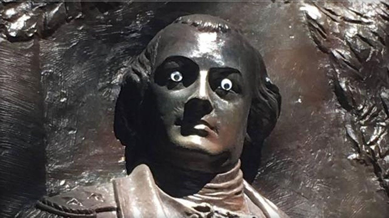 Statue Of Revolutionary War General Vandalized With 'Googly Eyes'