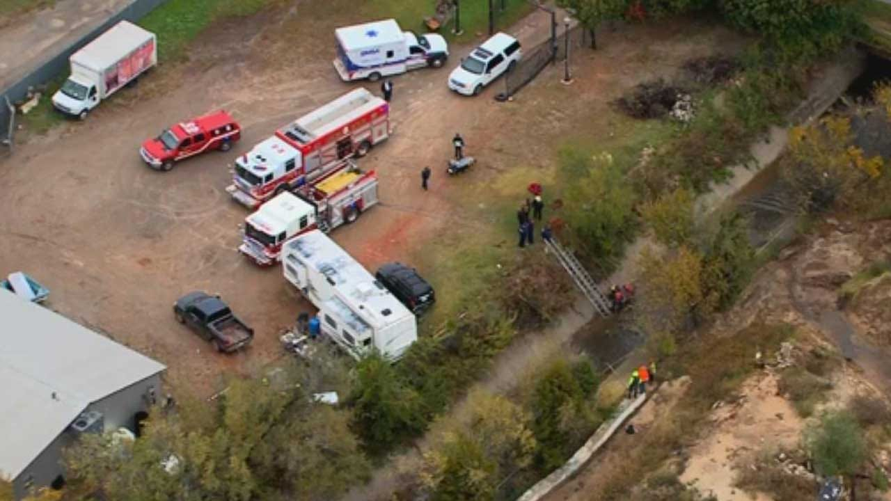 OKC Firefighters Rescue Man Who Fell Into Embankment