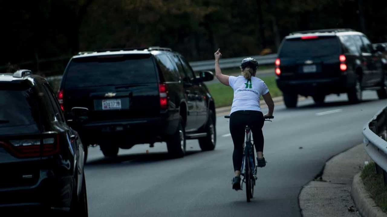 Cyclist Fired For Flipping Off President Trump's Motorcade Is Running For Local Office