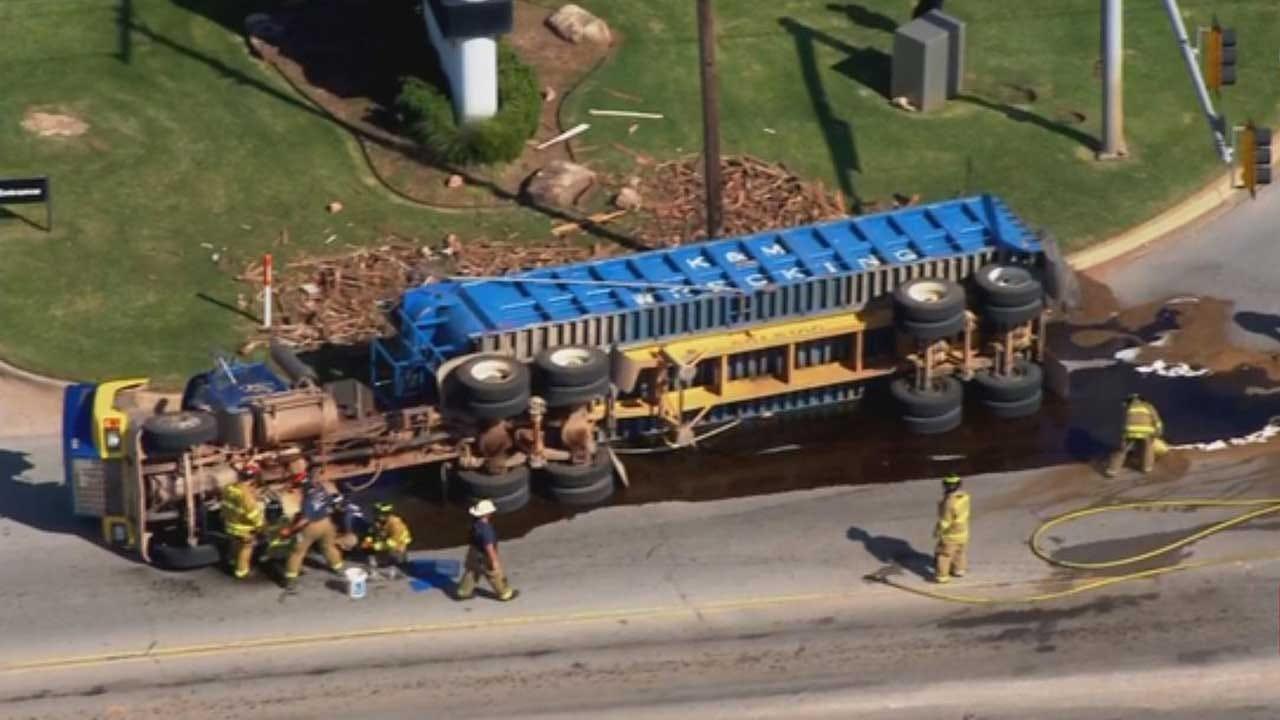 Crews Respond To Rollover Crash Involving Semi In Spencer