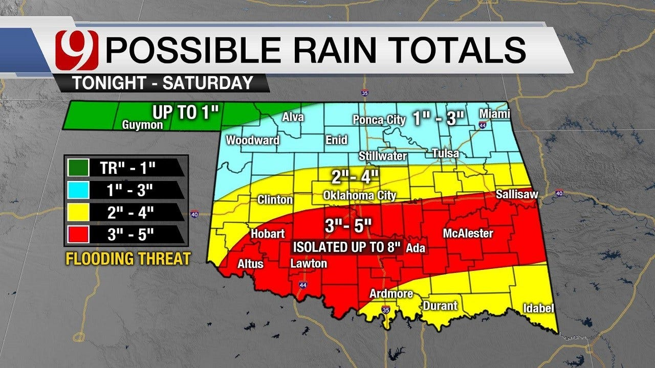 Flood Watch For Oklahoma With Up To 8 Inches Of Rain Possible