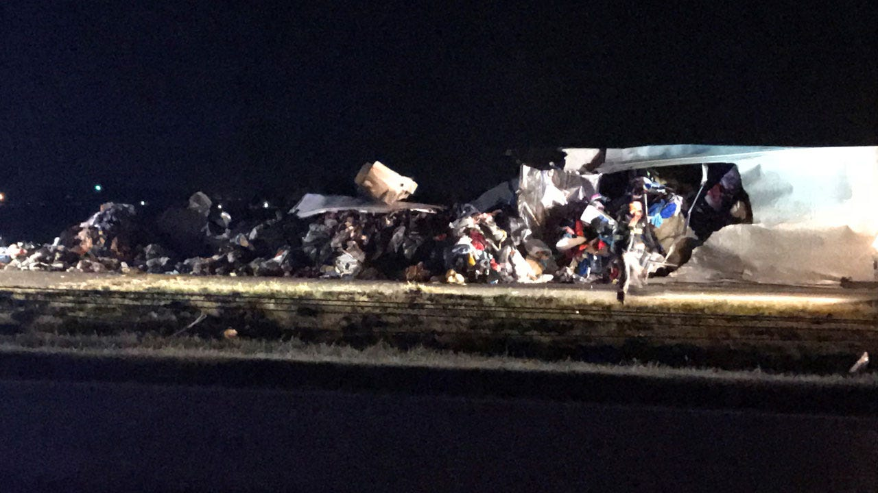 Overnight Semi Accident Closes Southbound Lane Of I-35