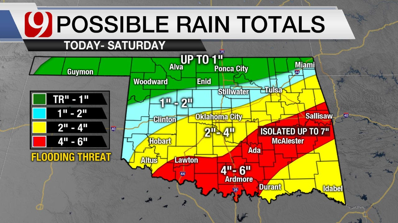 Heavy Rain Pours Down On Parts Of Oklahoma Until Saturday