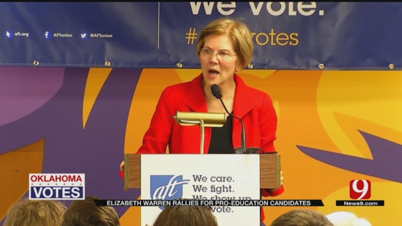 Senator Elizabeth Warren Rallies Teachers In OKC