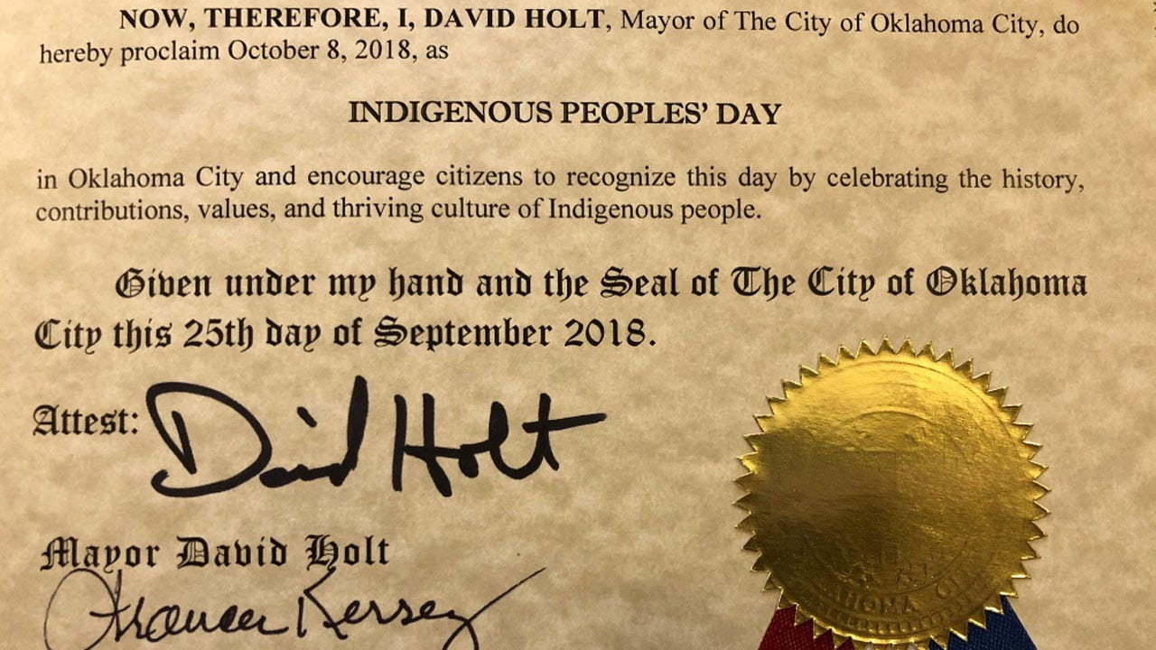 OKC Mayor Declares Oct. 8 To Be Indigenous Peoples' Day
