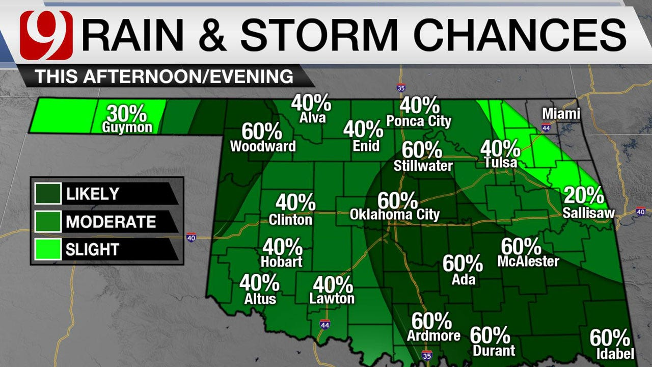 Rain Chances Increase Monday Afternoon In OKC