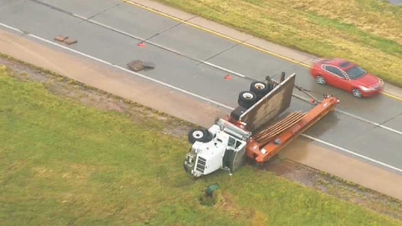 Truck Carrying Crane Wrecks, Blocking Part Of Kilpatrick Turnpike