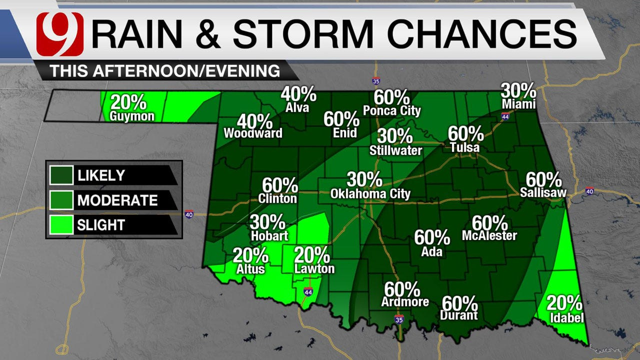 Widespread Rain Wednesday With Severe Chances In NW Oklahoma