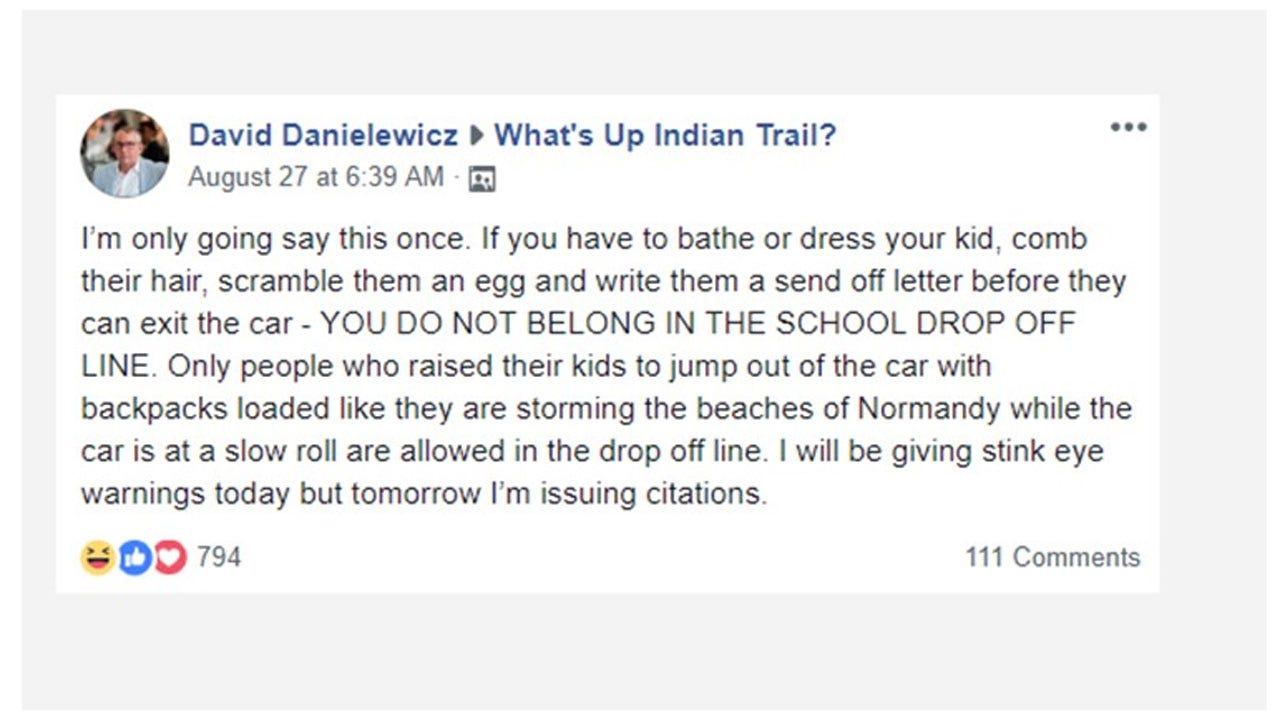Dad's Post About School Drop-Off Etiquette Going Viral