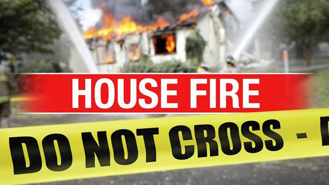 Firefighters Battle House Fire In Mustang