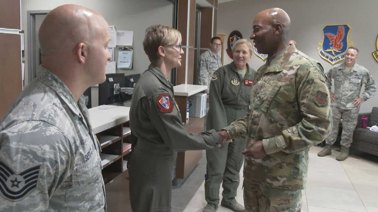 Air Force Chief Master Sergeant Visits Tinker AFB, Talks With Families Concerned With Housing
