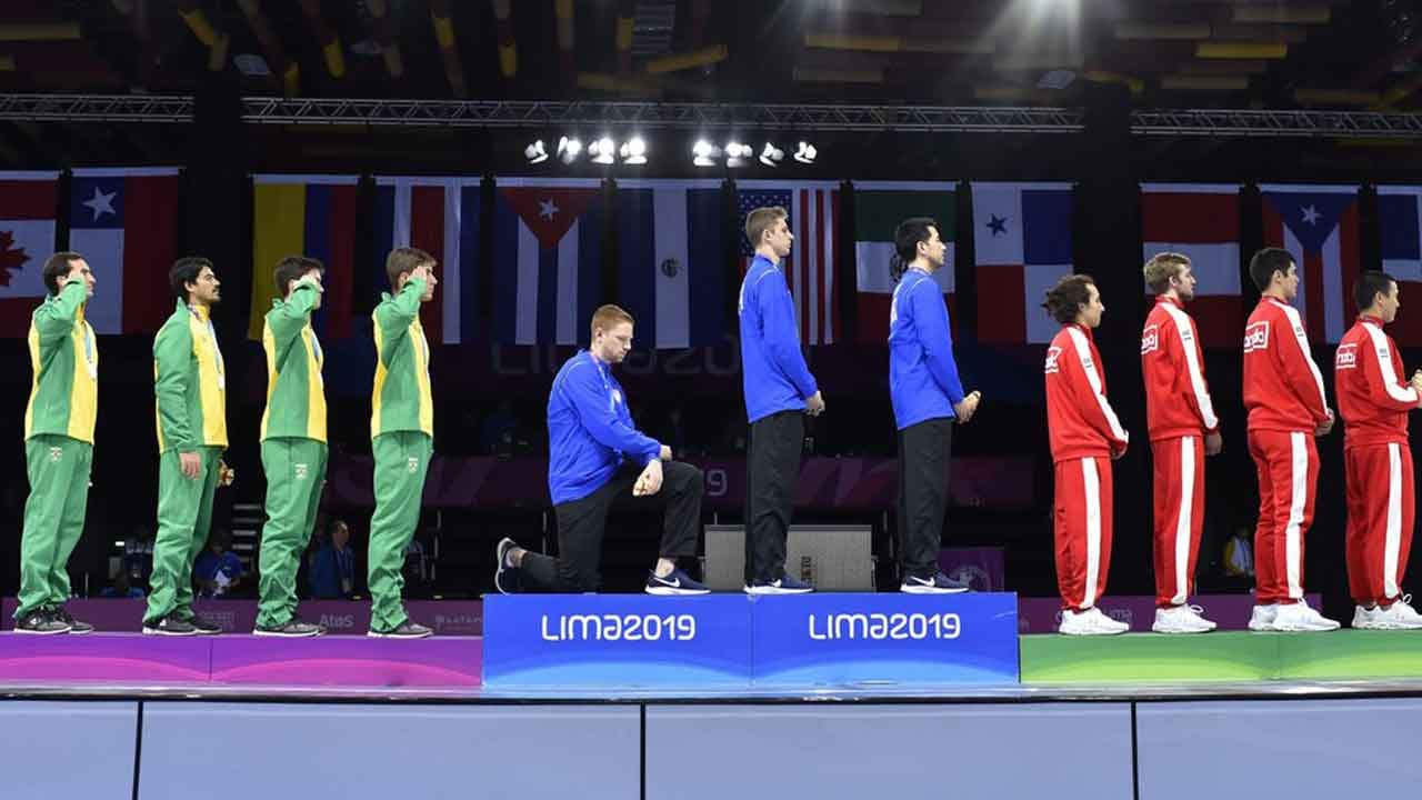 US Athletes Protest On Medals Stand At Pan Am Games