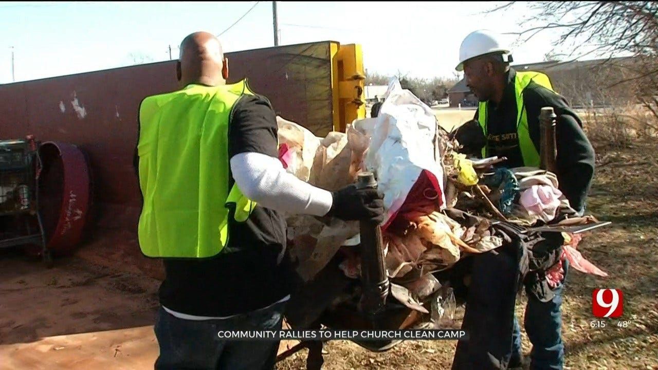 Inmates Help Clean Up Homeless Camp On Church Property In NW OKC