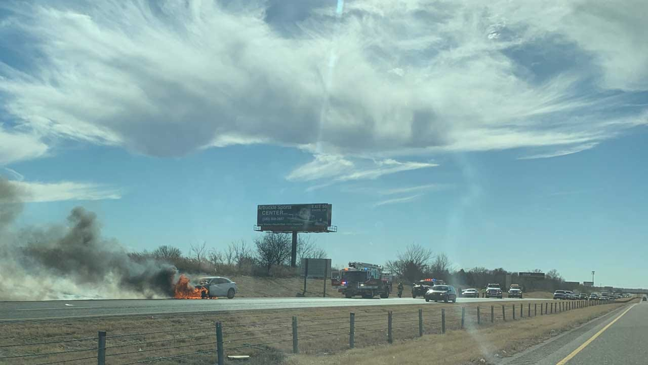 Wildfire Sparked By Car Fire Reported In SW OKC