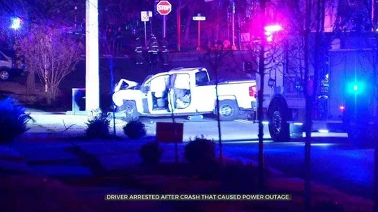 Crews Work To Restore Power Near Paseo District After Driver Crashes Into Power Poles