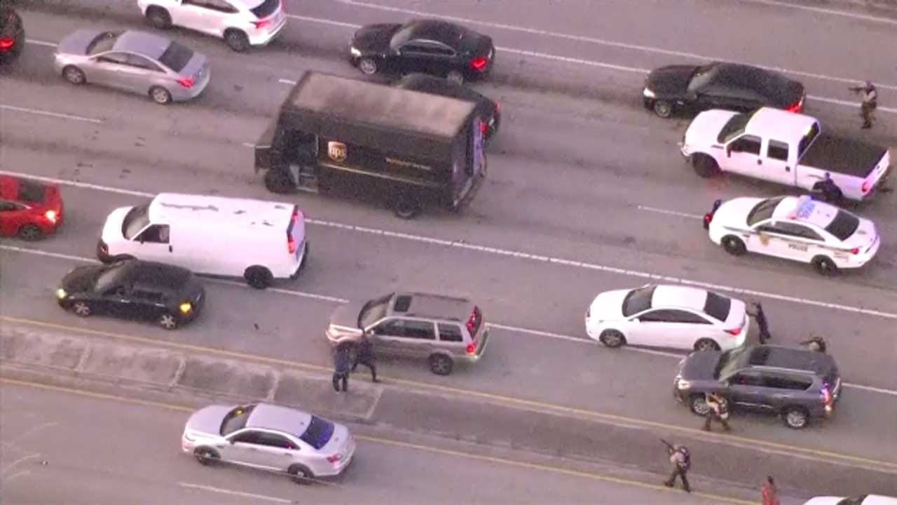 4 Dead After UPS Truck Police Chase Ends In Highway Shootout In South Florida