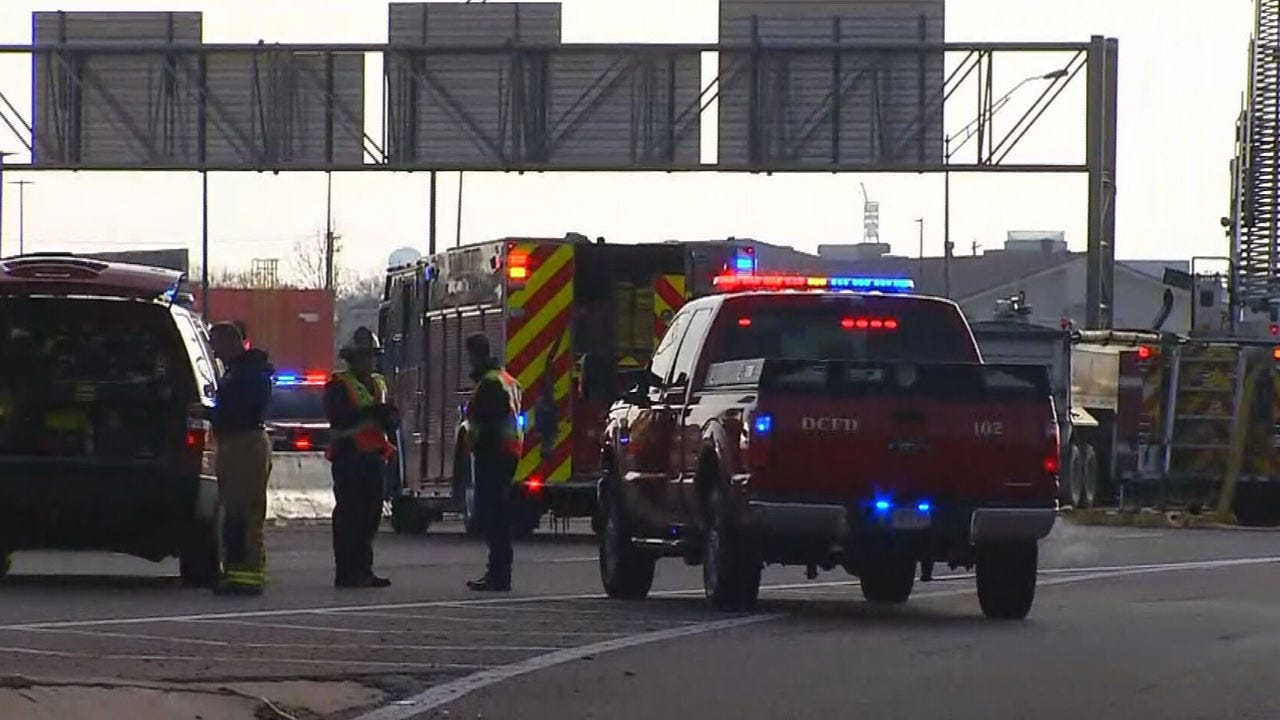 Semi-Truck Catches Fire Following Crash On I-40 In Del City