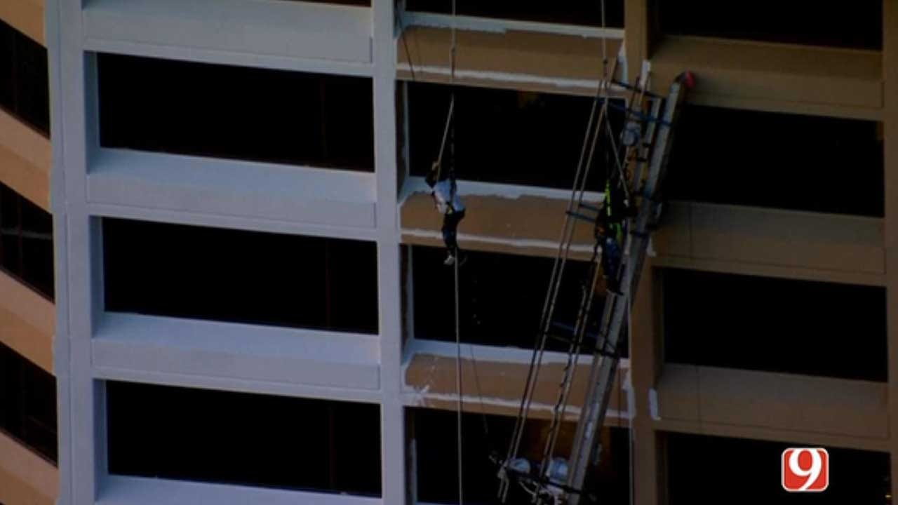 WATCH: 2 Rescued At Hotel Construction Site In NW OKC