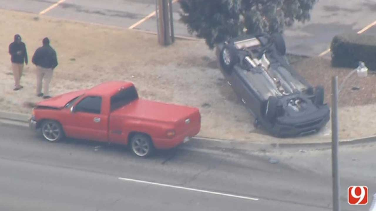 Emergency Crews Respond To Rollover Crash In NW OKC