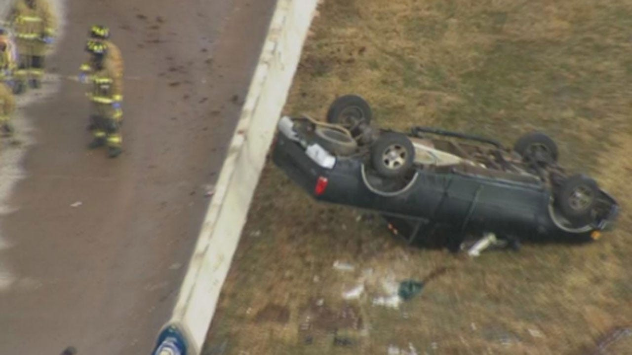 Emergency Crews Working Rollover Accident In SW OKC