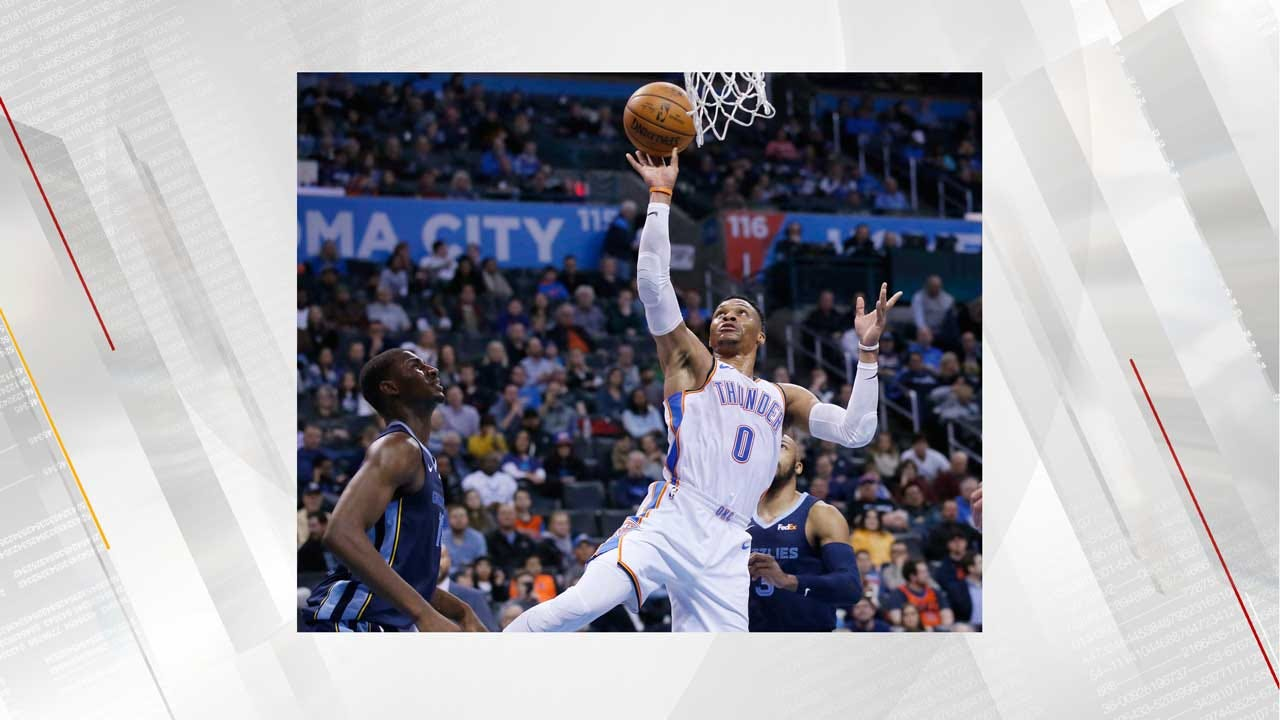 Westbrook's 8th Straight Triple-Double Leads Thunder Past Grizzlies