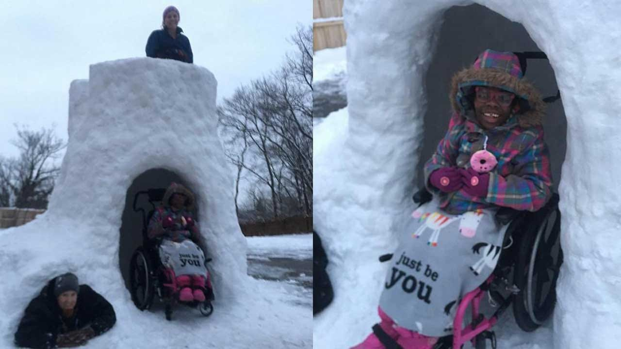 Dad Builds Wheelchair-Accessible Igloo For His Kids With Disabilities
