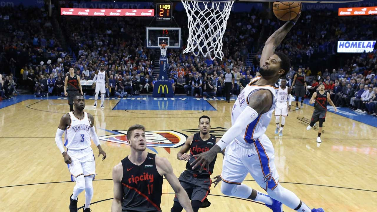 George Nets 36, Westbrook 29 As Thunder Tops Blazers 123-114