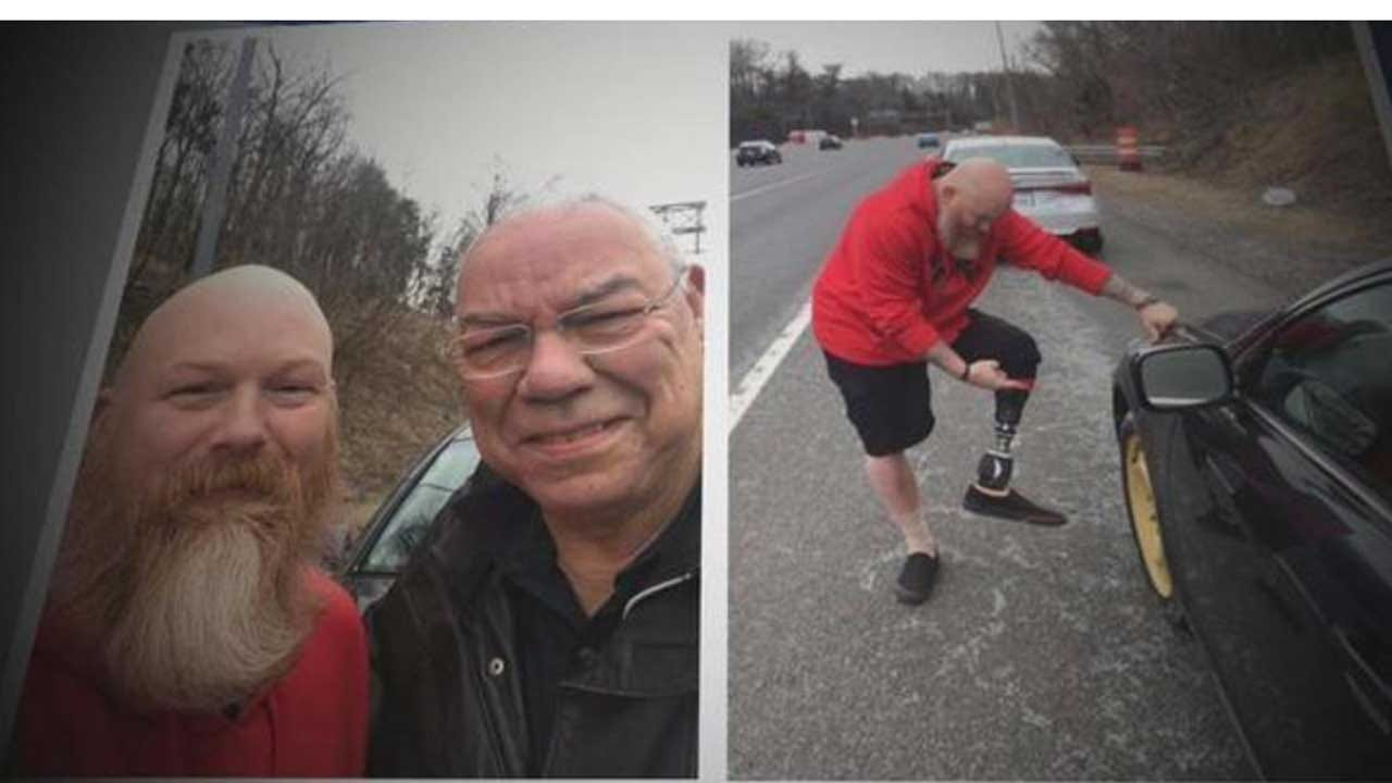 Veteran Who Lost Leg In Afghanistan Helps His 'Idol' Colin Powell Change Tire