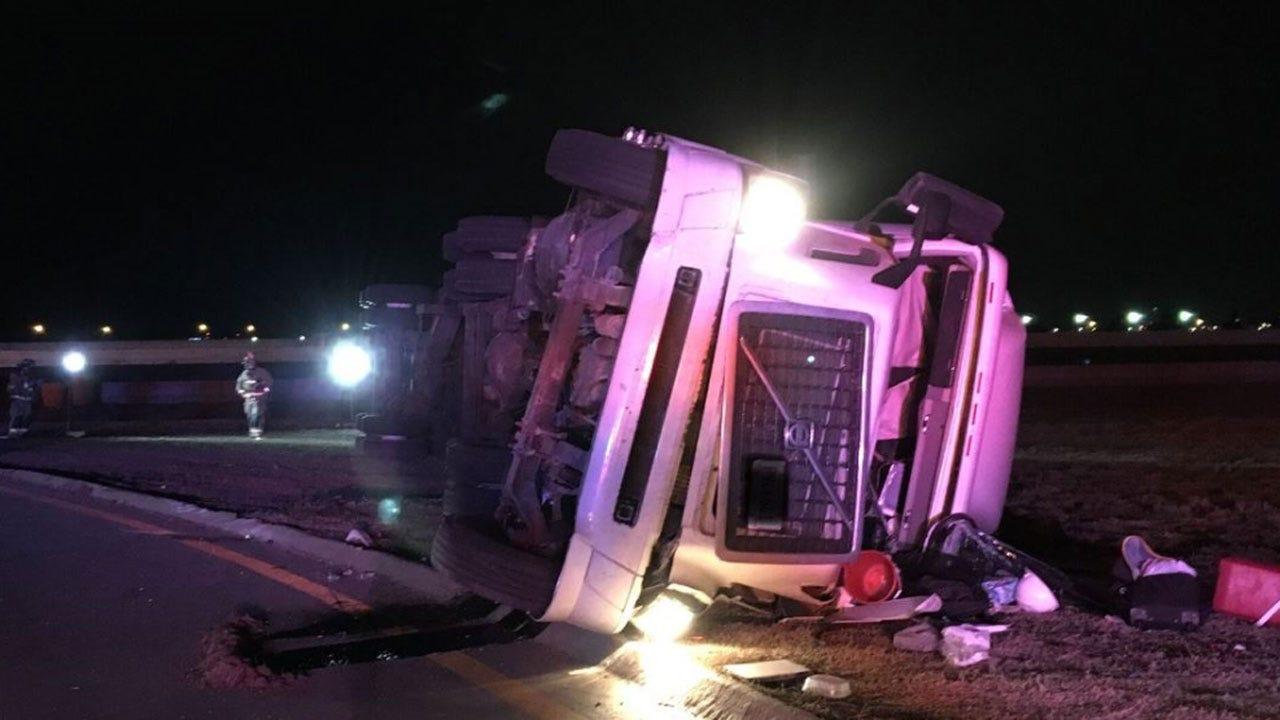 Authorities At Scene Of Semi Rollover On I-240