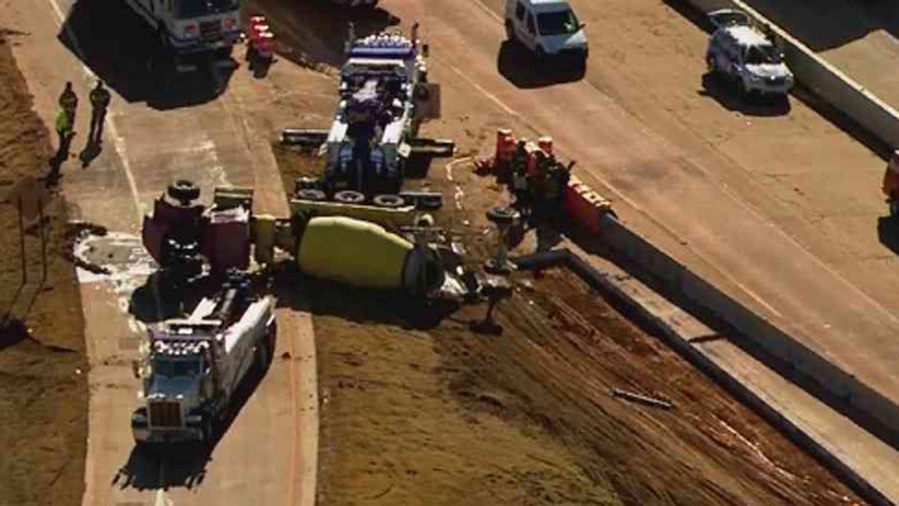 Crews Respond To Cement Truck Rollover On Westbound I-40