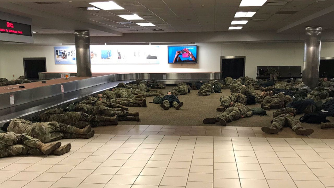 Soldiers Stuck At Will Rogers World Airport During Winter Weather