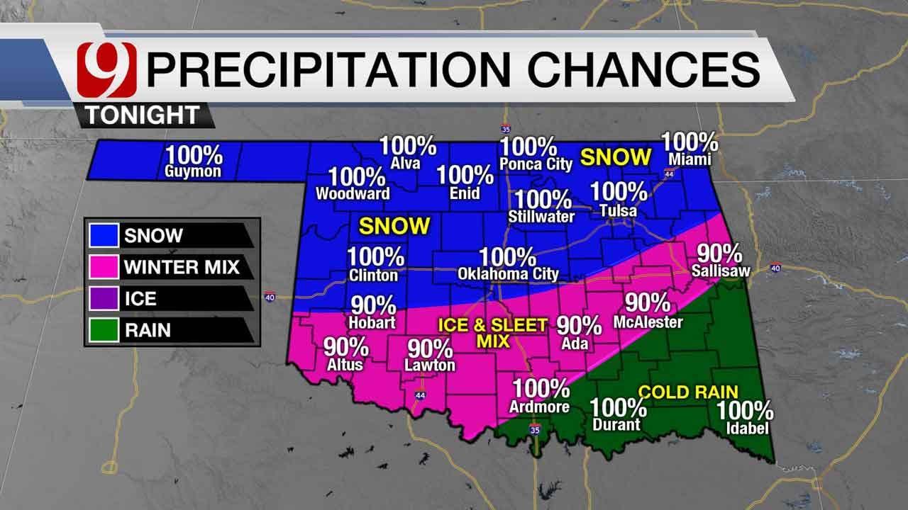 Winter Weather Arrives In Oklahoma On Sunday