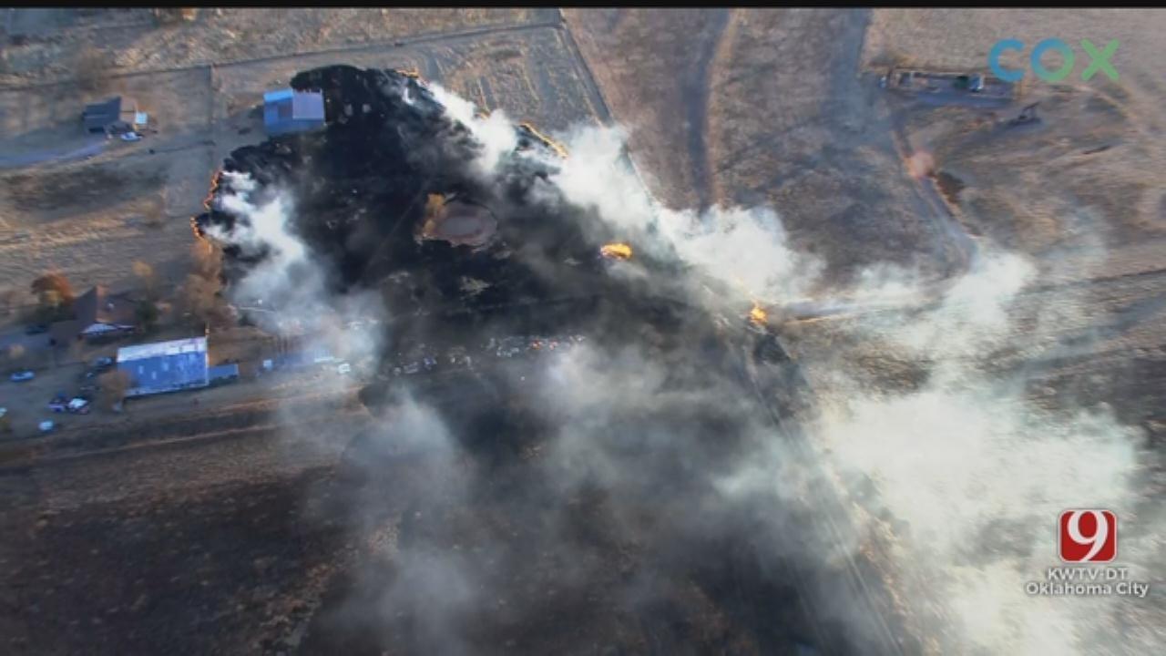 Grass Fire Reported Near Mustang
