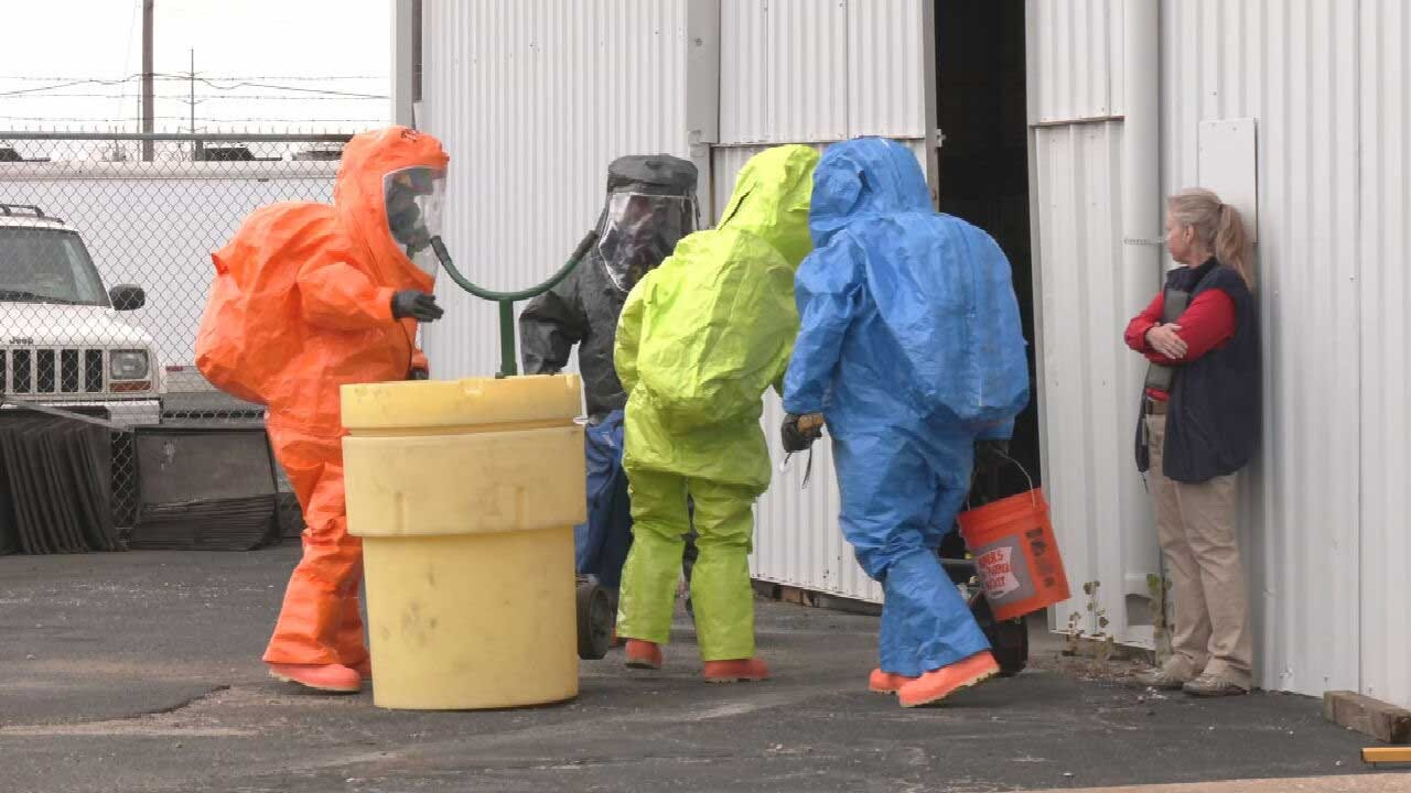 Midwest City Fire Department Trains With Military For Hazmat Drill