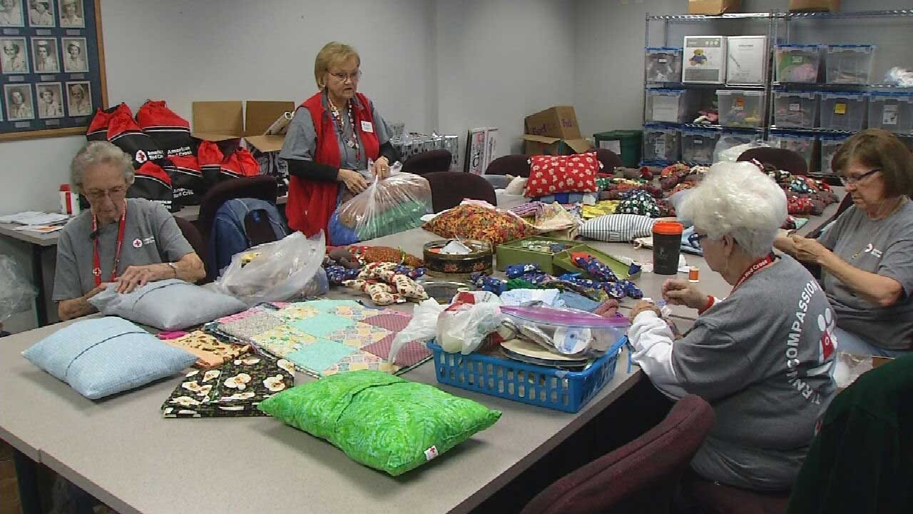 Red Cross 'Sewing Ladies' Prepare Gifts For Oklahoma Veterans