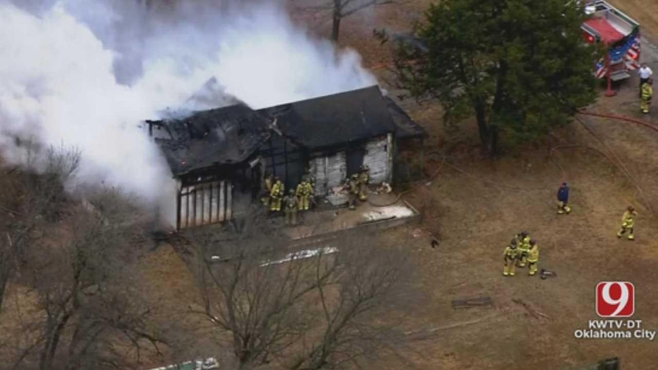Firefighters Battle Abandoned House Fire Near Newalla