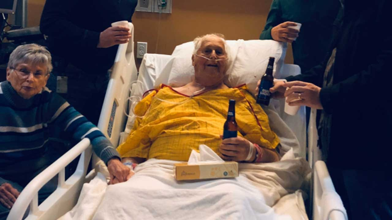 87-Year-Old Man Gets Final Wish To Have Beer With His Sons